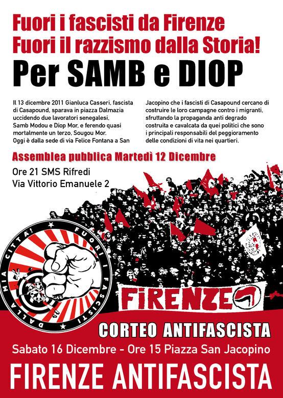 Firenze antifascista assemblea e corteo 12 e 16 Dicembre 2017