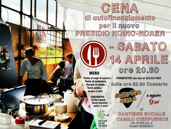 Cena Benefit per il presidio NO INC - No AERO