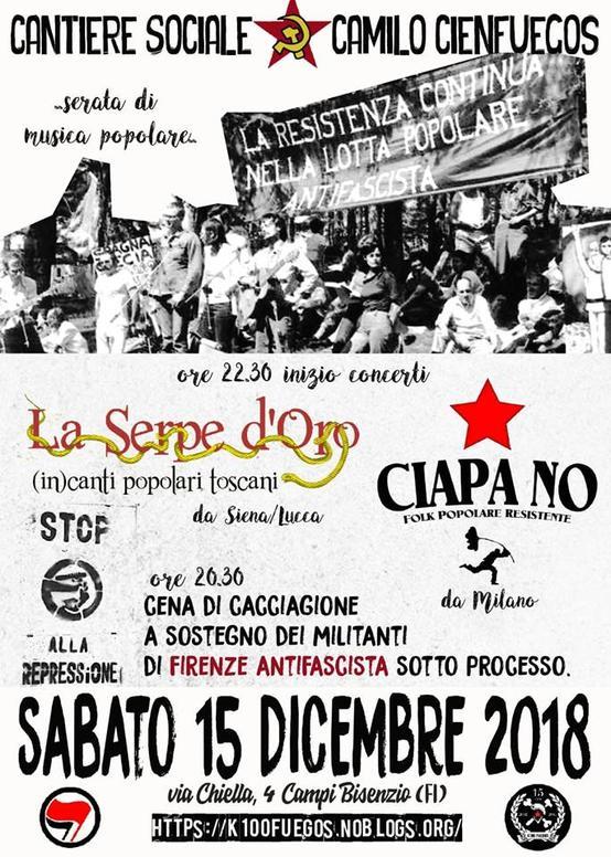 Cena a sostegno di Firenze Antifascista e serata di musica popolare.