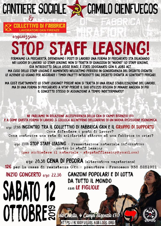 Stop staff leasing! Fermiamo la precarietà, difendiamo i posti di lavoro!