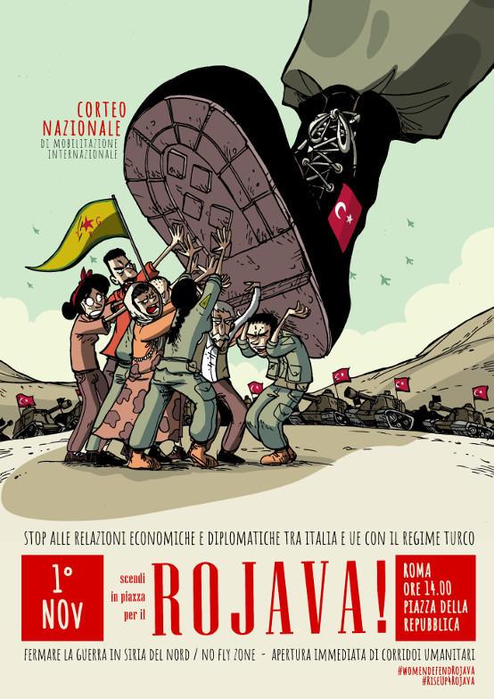 Manifestazione a Roma per il Rojava