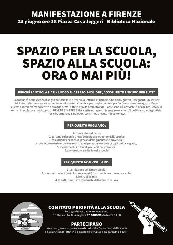 Priorità alla scuola - Firenze - Presidio a tappe.