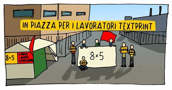 In piazza per i lavoratori TEXPRINT