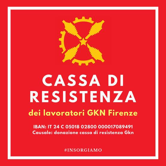 Cassa di resistenza lavoratori GKN - Iban